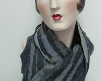 Cashmere scarf, unisex, recycled material, upcycled, multi grey, FREE SHIPPING in the US