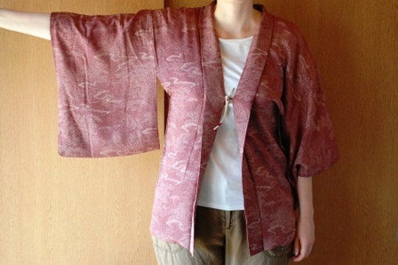 Haori In Dark Red With Finely Dotted Beige Pattern, From Japan, Size M L, Cardigan, Blouse, Top, Shirt