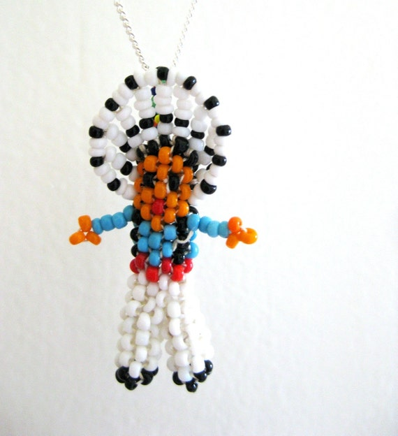 Native American Necklace, Beaded Man, Indian Seed Bead Pendant, Head Dress Charm