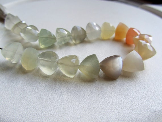 Big Multicolor Moonstone Faceted Trillions, half strand