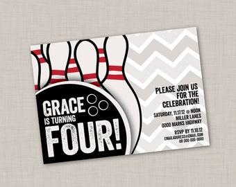 Bowling Birthday Chevron Invitation (2D) -- Print Your Own