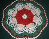 Circle of Santa Hand Crochet Christmas Doily