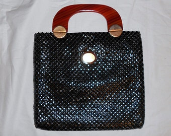 Vintage  Black  Mesh Bag Purse with Gold Metal Hardware and Lucite Tortise Shell Handle 1950's