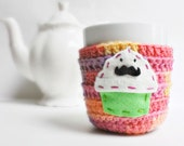 Mustache Cupcake funny coffee mug cozy handmade cover