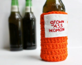 Beer Cozy Bottle Can Grown Ass Woman orange red funny crochet handmade cozy cover