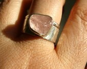 Rough Pink Peach Morganite & Hammered Band Stacking set - Sterling Silver