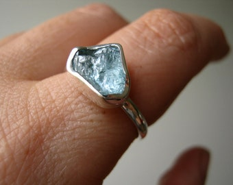 Rough Aquamarine Heart ring - Trillion -Triangle - Sterling silver - LAST ONE !