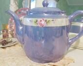Teapot Garden Rose Blue Lusterware Teapot