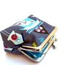 Coin purse ll cuckoo clocks ll metal purse frame ll birds ll whimsical ll snow flakes ll vintage clocks