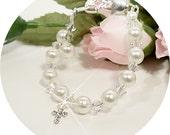 Girls Cross Bracelet,  Christian, Baptism, Christening, Communion,Baby Bracelet, Toddler, Flower Girl, Kids Jewelry,Pearl Bracelet, Toddler
