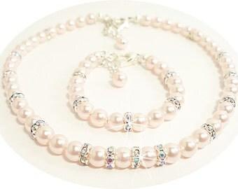 Girls Necklace and Bracelet Set, Pink Pearl, Rhinestones, Flower Girl Jewelry, Toddler Jewelry, Kids Jewelry. Pink Jewelry, Dressy, Pageant