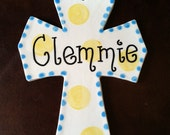 Personalized or Monogrammed Handpainted Ceramic Cross in Blue and Yellow with Your name or Monogram Makes a Great Baptism Gift