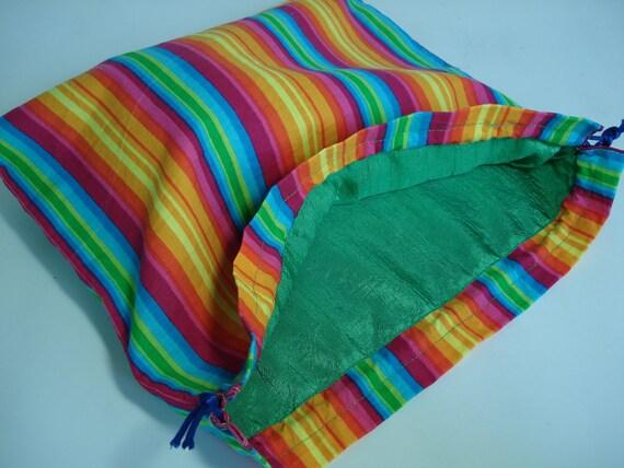 Drawstring Bag in bright stripes
