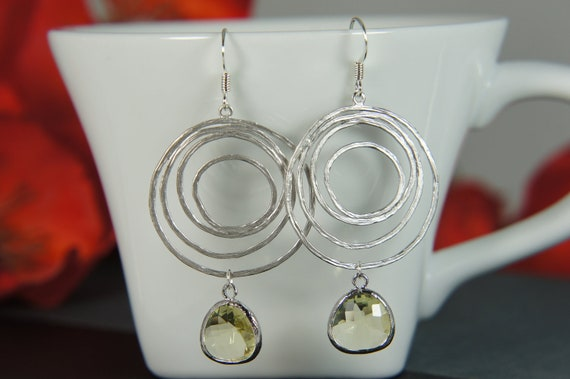 Silver circle earrings with jonquil yellow glass -  bridal, wedding, gift, swirl