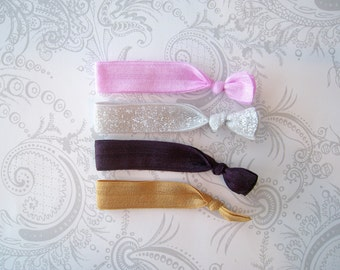 Elastic Hair Ties -- Sugar Plum Fairies -- Anthropologie Inspired -- Stretch Bracelet -- Pink Snow