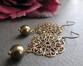 Filigree Dangle Earrings, Brass Vintage Earrings Pearls, Antique Gold Filigree Earrings Dangle - LACE