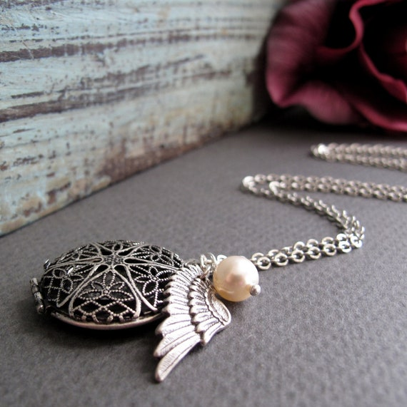 Angel Wing Locket, Antique Silver Filigree Locket Necklace, Cream Pearl, Vintage Style, Long 28 Inch Chain - REMEMBERANCE