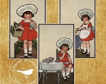 Vintage Little Baker Girl Large Printable Digital Download