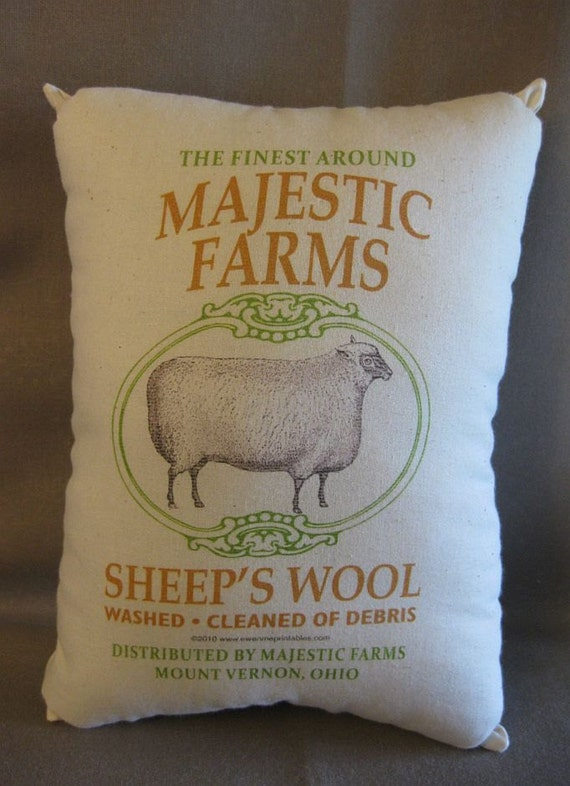 Sheeps Wool,  Feedsack Pillow,  Rustic Feed Sack, Cottage, Primitive