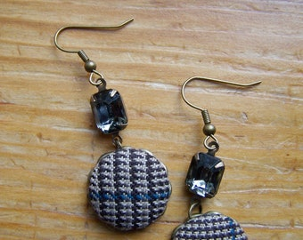 Antique Brass Derby Plaid Button Dangle Earrings, Gray Glass Jewel