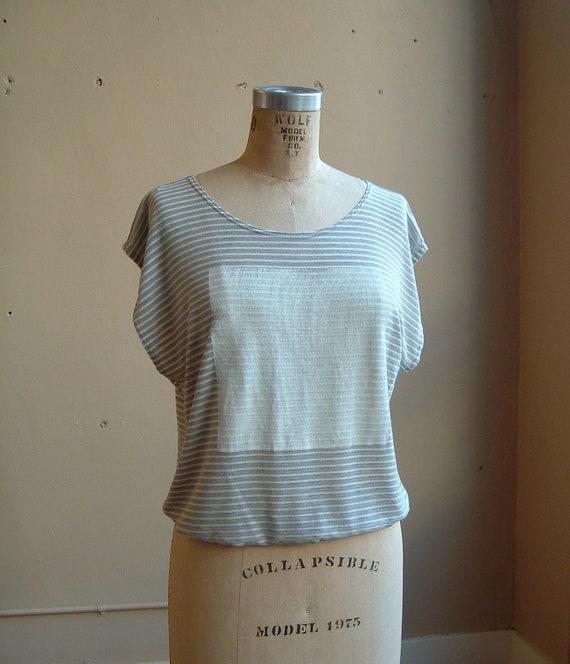 Stripe Top with White Square- size small/medium