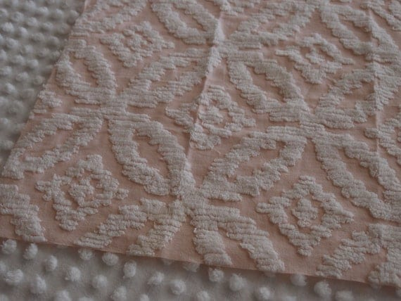 """Vintage Chenille, pale pink base with white chenille,16"""" x 20-1/2"""" fabric piece"""