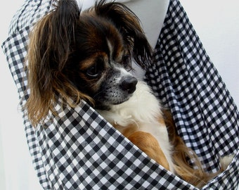 Pet Dog Sling Carrier  Black and White Gingham Cotton with Pocket-  Also available in red and white