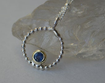 Blue Ceylon Sapphire Circle Necklace in Sterling Silver and 14K Gold