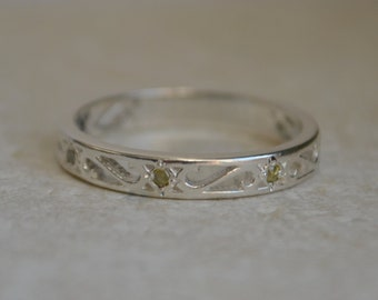 Yellow Diamond Eternity Ring, Silver Eternity Band, diamond ring, gifts for girlfriends, scroll style eternity band