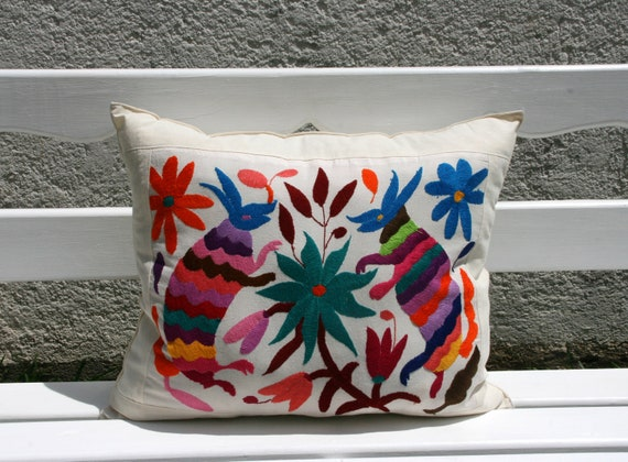 3 Shams Private Listing Multi Colored Folk Art Pillow Sham-Otomi Embroidery Ready to ship.