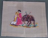 Bucilla Needlepoint Canvas with Bull Fighter and Bull