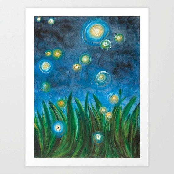 Fireflies - Art Print 8 x 10