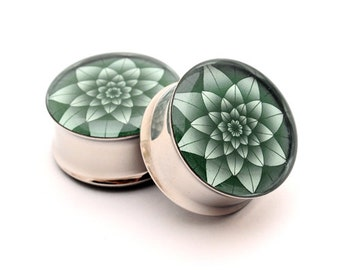 Green Lotus Picture Plugs gauges - 16g, 14g, 12g, 10g, 8g, 6g, 4g, 2g, 0g, 00g, 7/16, 1/2, 9/16, 5/8, 3/4, 7/8, 1 inch
