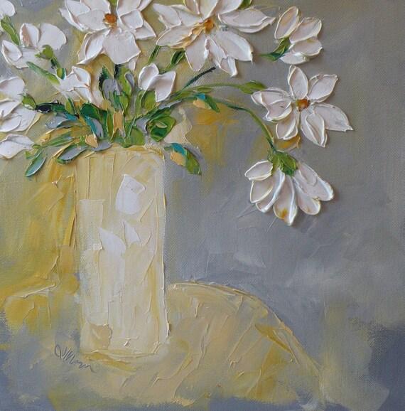 Original Oil Painting Jan Ironside Fine Art Impasto Oil  Painting 12x12 White  Flowers Bouquet Palette Knife