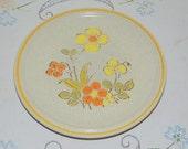 Vintage Stoneware Salad Plates and Dinner Plates 'Hearthside Garden Festival' Handpainted JAPAN