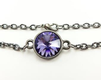 Dark Bracelet Gunmetal Chain Jewelry Purple Crystal Bracelet Rivoli Simple Jewelry