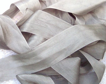 "100% Silk Silver/Mist color 1"" 5 yards"