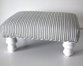 Black and White Striped Footstool Ottoman - MendEtc