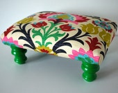 Colorful Rainbow Damask Footstool Ottoman - RESERVED for DANIA
