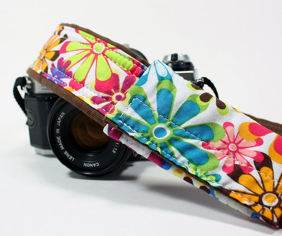 Camera Strap with Pocket, Flower Power, dSLR, Quick connect