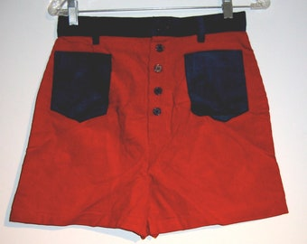 Vintage 1960's Corduroy Shorts. Blue and Red.  NEW old Stock.  Glenbrooke Jr.