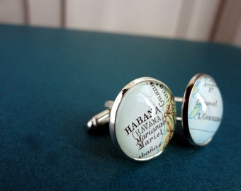 Personalized Map Cufflinks for Nichole -  Gold Coast, Aus