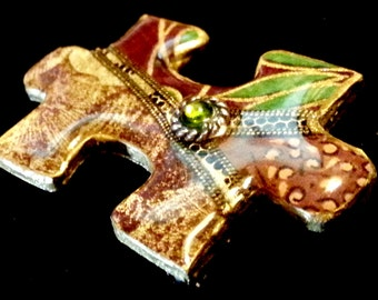 Puzzle Piece Decoupage Lapel Pin Paisley Green Gold Brown and Green Stone Very Unique