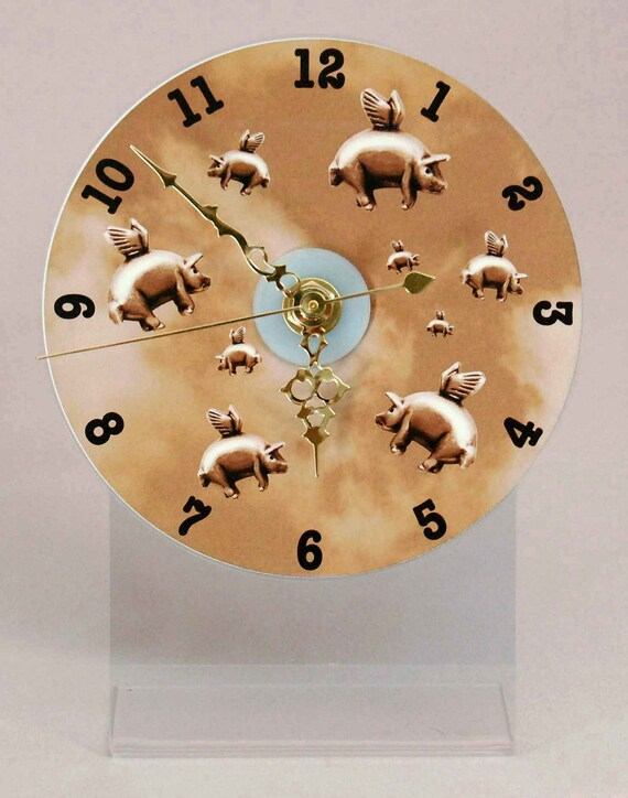 Flying Pigs CD Desk Clock - Sepia, Gray,  Blue OR Purple, When Pigs Fly Clock, Pigasus Desk Clock, Pigs with Wings Desk Top Clock