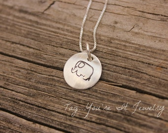 Elephant Necklace - Hand Stamped Sterling Silver - Trending Jewelry - Push Gift - Birthday gift - Mommy Jewelry - Mom Necklace - tagyoureit