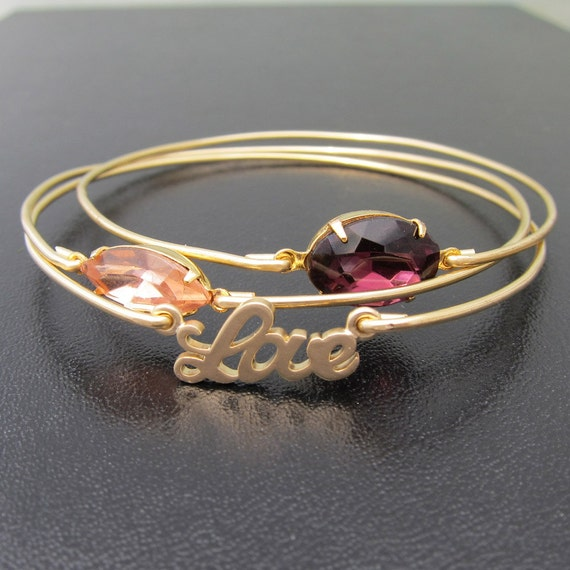 Sweet Love, Gold Bracelet Stack, Romantic Jewelry, Romantic Gift, Gold Stacking Bangle Set, Gift for Girlfriend, Gold Stacked Bracelet Set