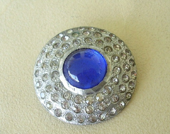 Pave Rhinestone Domed Button Cabochon Art Deco Large Jewelry Supply Silver Tone Assemblage Repurpose Altered Art