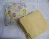 SALE ITEM - Precious Moments and Yellow Check  --  Fitted Crib Sheet set
