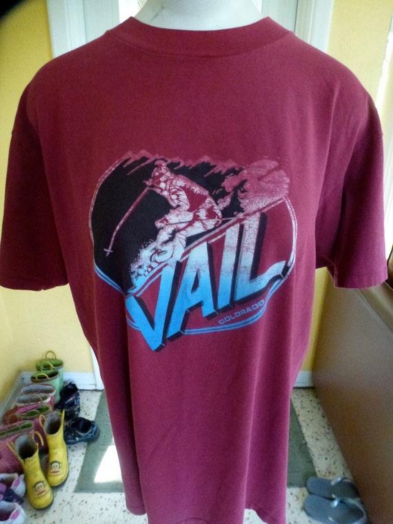 Vintage Vail Colorado tee - marron ski shirt size L