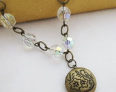 Locket Necklace - Crystal Clear Faceted Glass Antiqued Brass, Handmade